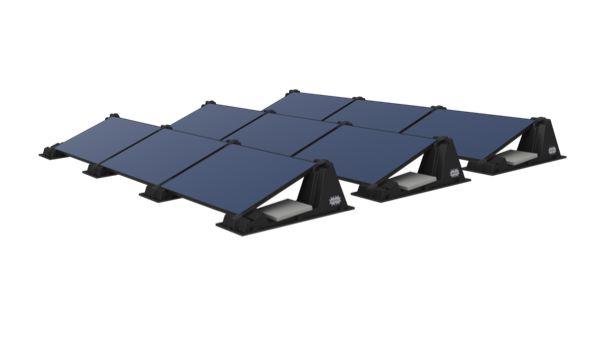 Installation simplifiée de modules photovoltaïques pour toits plats
