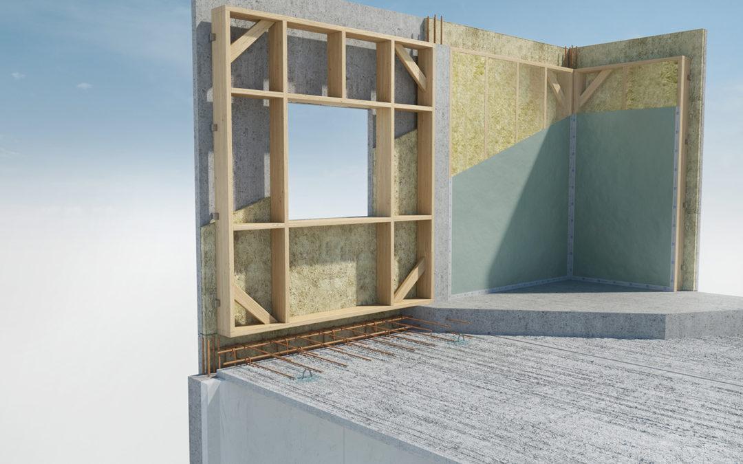 Le système constructif B2 de KP1 : association d'un plancher à prédalles, d'une structure bois et d'un parement béton