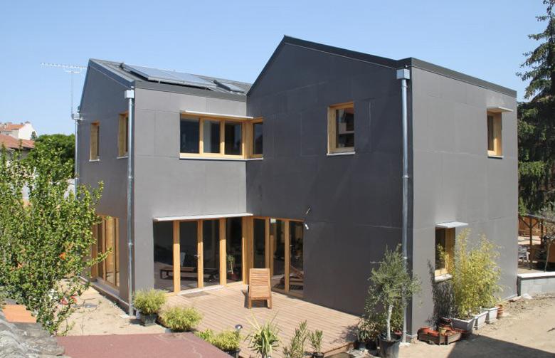Maison de ville en bois, basse consommation, BBC Effinergie à Lyon 8e