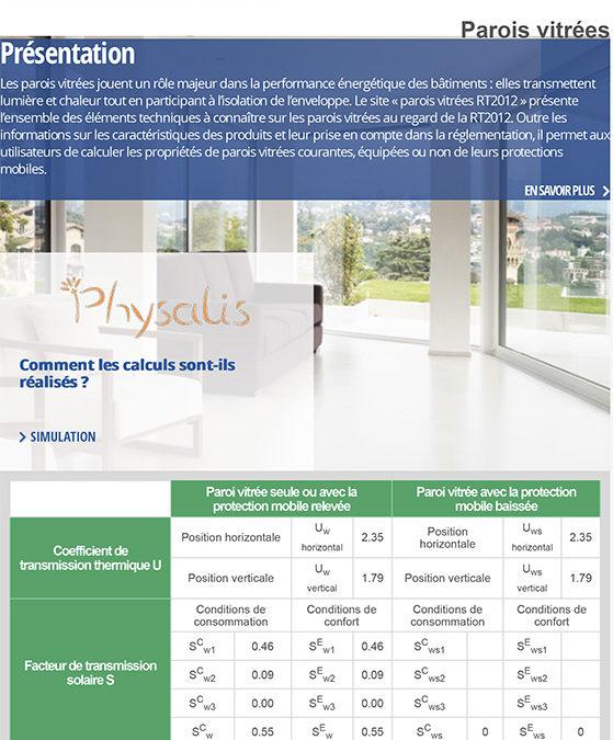 RT 2012 : un site pour calculer les propriétés des parois vitrées