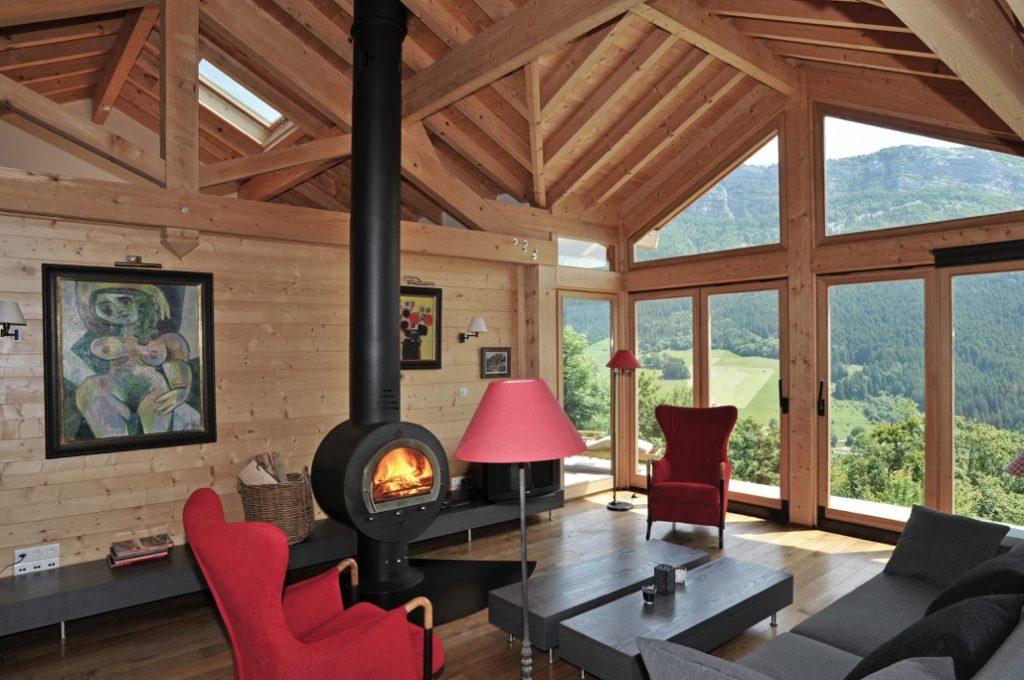 Maison ossature bois int gr e au paysage du vercors la for La maison du poele a bois