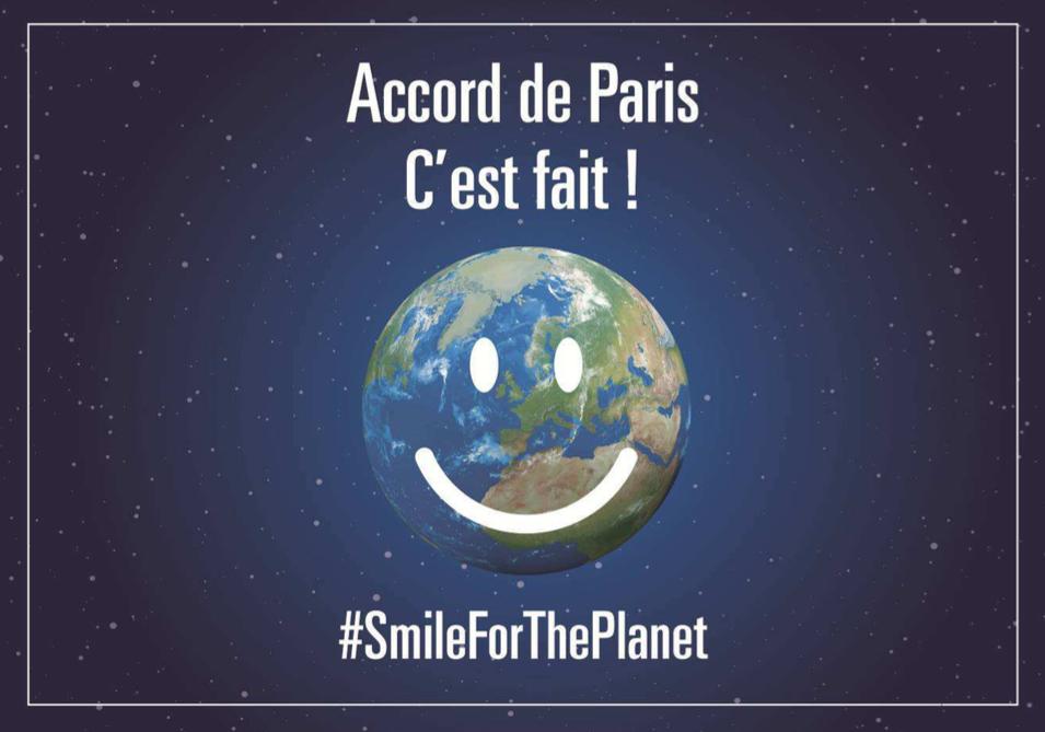 #SmileForThePlanet : l'accord de Paris sur le climat entre en vigueur