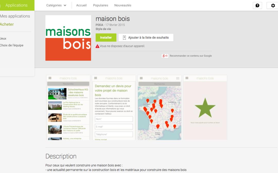 Le site maisons-bois.com se décline maintenant en Appli