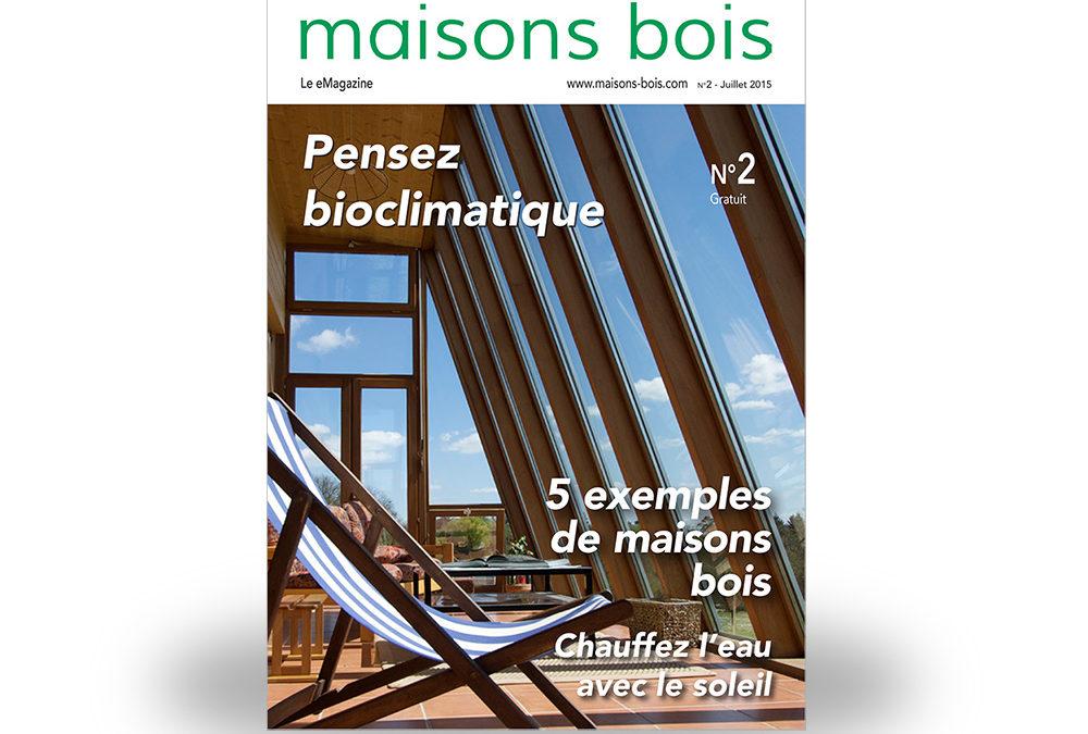Bioclimatisme et solaire thermique dans le n°2 gratuit de maisons-bois.com