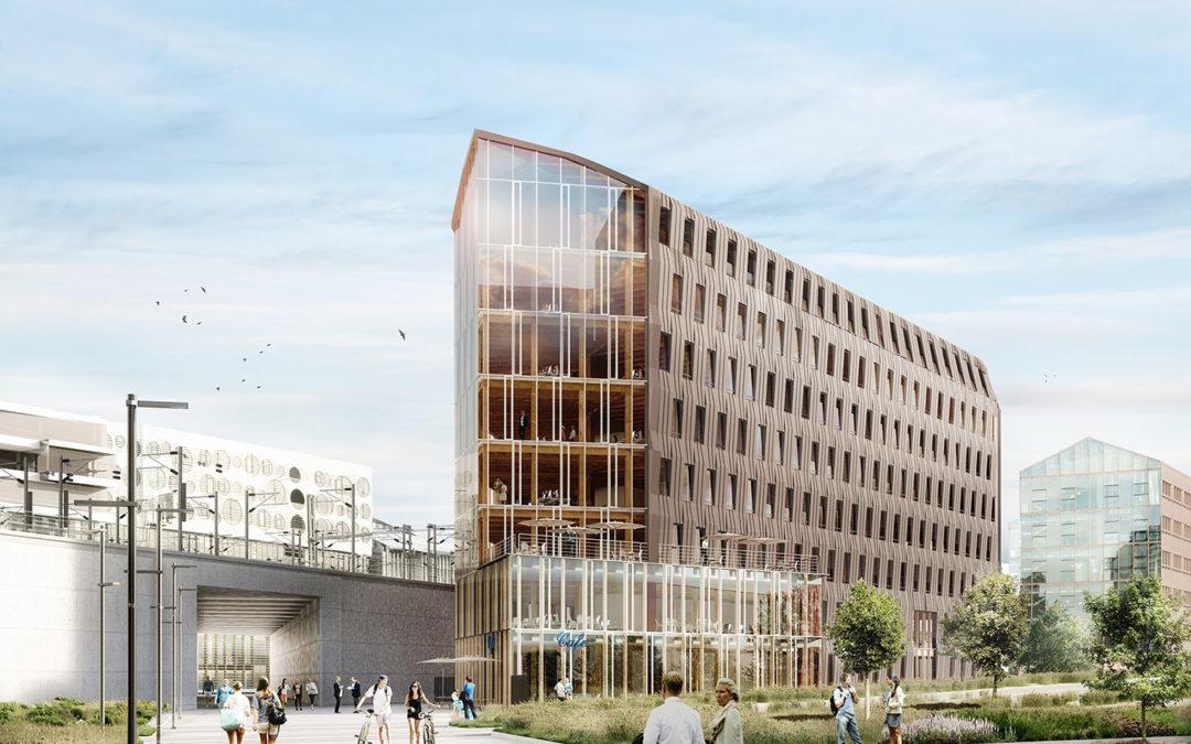 Structure mixe bois/béton pour un immeuble de bureaux