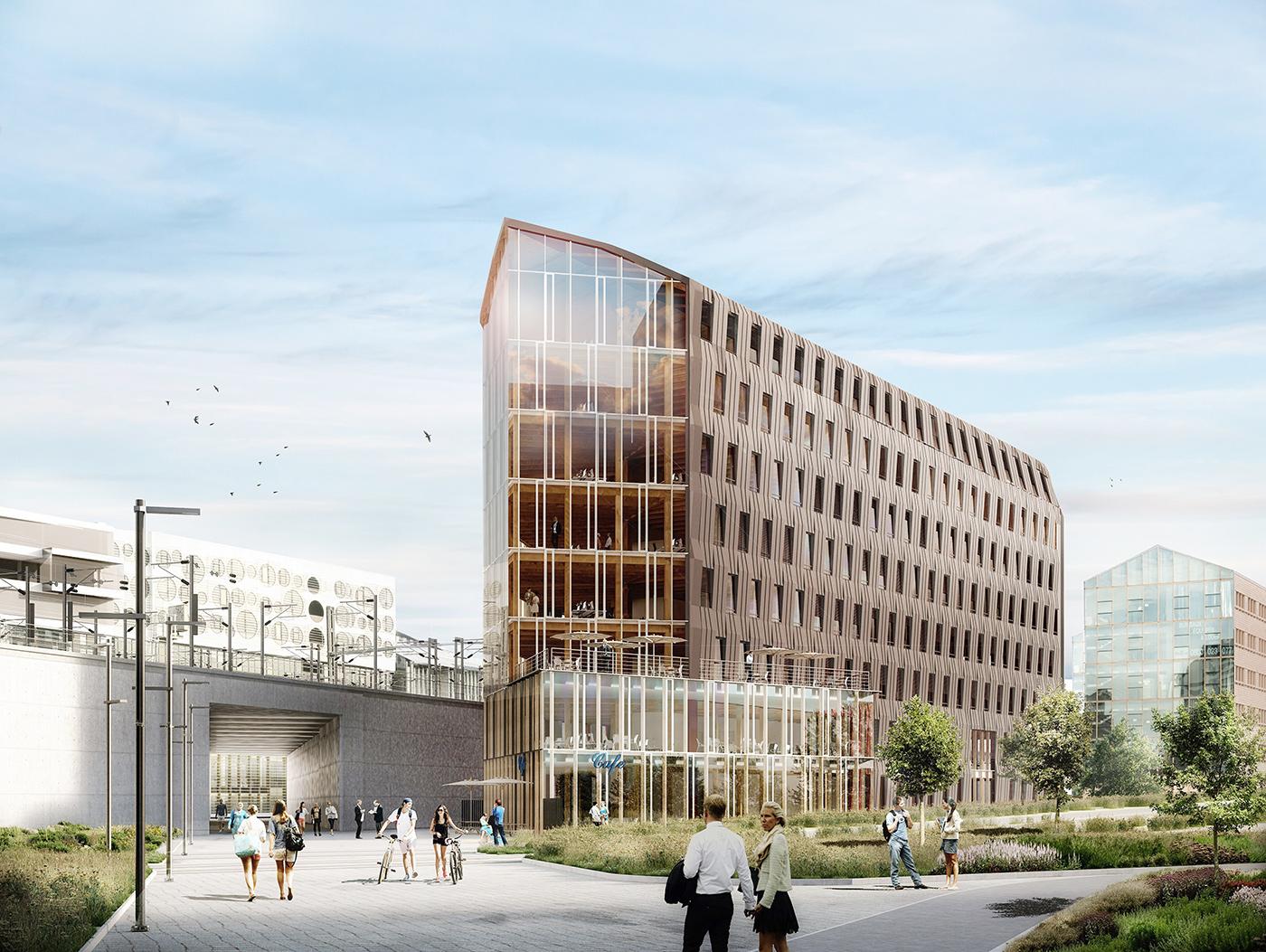 Structure mixe bois béton pour un immeuble de bureaux