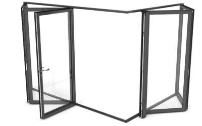 Porte coulissante repliable pour de grandes ouvertures panoramiques