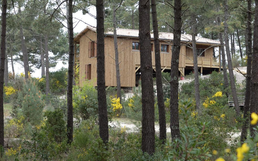 Une maison bois sur pilotis dans une pinède en Aquitaine par Ami Bois