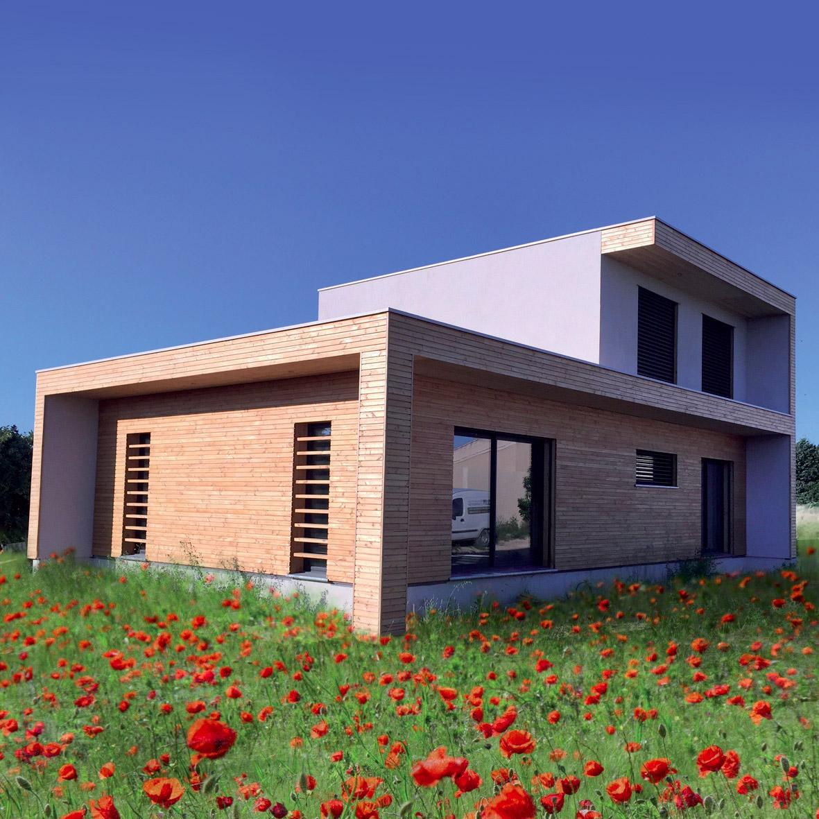 rielcy maison ossature bois bioclimatique par nature et bois construction la maison bois par. Black Bedroom Furniture Sets. Home Design Ideas