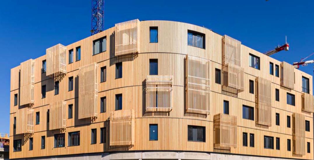Façade de Ywood Marseille – plus haut bureau en structure bois massif de France et futur siège de Nexity pour la région Provence.